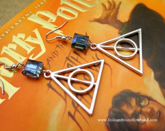 Harry Potter and the Deathly Hallows Inspired Earrings in Silver  -- FREE SHIPPING!!!