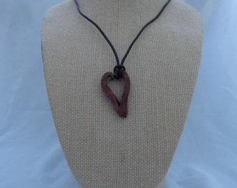 Hand Forged Red Heart Pendant