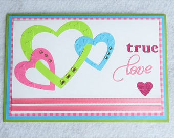 Triple Heart Card, True Love Card, Sweetheart Card, Card For Boyfriend, Card For Girlfriend, Card For Wife, Wedding Card, Anniversary Card