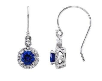 14K Gold Blue Sapphire Earrings / Diamonds & Sapphire Dangle Earrings White Gold / Sapphire Earrings Halo
