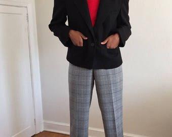 Vintage 80s Black Wool Single Button Cropped Blazer / 1980s 100% Wool Jacket w/ Deep Lapel