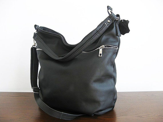 BLACK LEATHER HOBO sale-20% Spring sale Everyday Hobo Bag