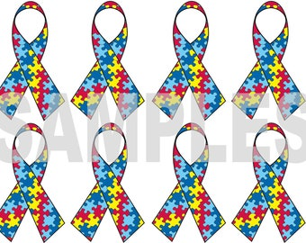 Autism Awareness 8 Ribbons Iron on Transfer