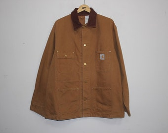 Vintage 80s Carhartt 100 Years 1889 - 1989 Cotton Duck Ufo Rivets Button Chore Jacket United Workers Size 46 Large XLarge Workwear French