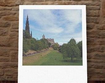 "Custom Polaroid Style Cotton Canvas Print with Copyright Photograph of Edinburgh - ""Up or Down"", 3 sizes available, Custom Home Decor Gift"