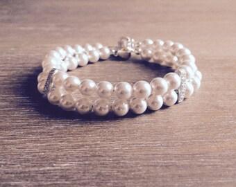 Multi Strand Pearl Bracelet, Bridal Bracelet, Pearl Bracelet