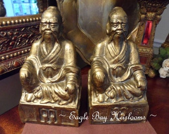 Antique Gilded Chalkware Bookends Pair~ Signed Made China~ Oriental Asian Emperor