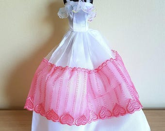 White Satin and Pink Lace / Wedding  / Prom / Ball / Dress / Gown -  for Barbie or Similar Sized Dolls (Ref H)