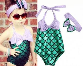 Toddler baby girl mermaid swimsuit headband