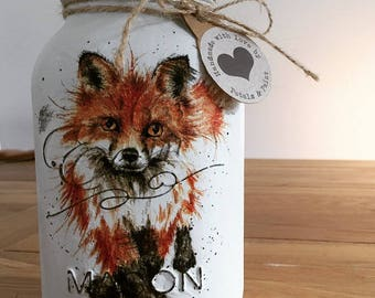 Handmade Fox Mason Jar