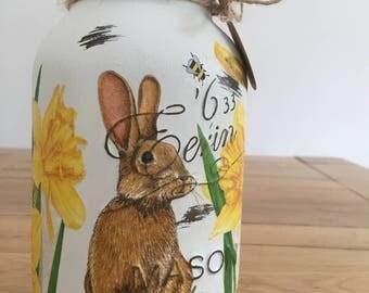 Handmade Springtime Rabbit Mason Jar