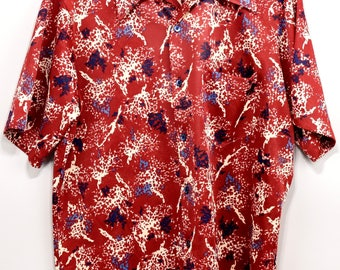 Vintage Jantzen Pointed Collar Disco Hawaiian Retro Shirt USA 60s 70s Bright Mod