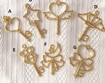 Kawaii magical wand open bezel,open back bezel,heart bezel,resin open bezel,resin charm,gold bezel,gold charm,key open bezel