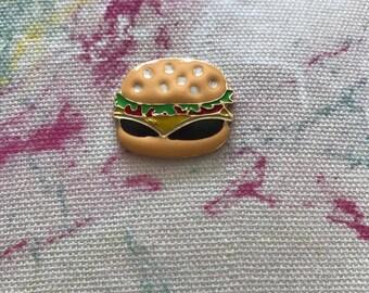 cheese burger pin, cheese burger, burger pin, ham burger pin, hamburger pin, cheese burger brooch, enamel burger pin, burger in bun pin