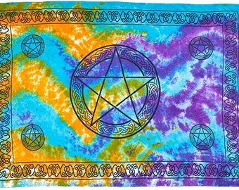 "Handmade Tie Dye Pentagram Altar Cloth, Tarot Cloth 42""X68"""