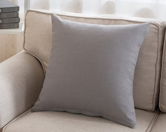 SALE! Cushion gray cotton woven 45 x 45 cm elegant chic grey plain simple elegant