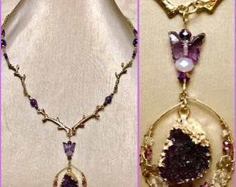 Amethyst Druzy Branch Necklace