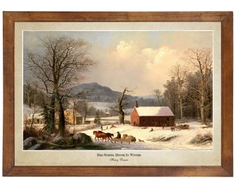 Red School House in Winter, Henry Durrie 1858; 24x36 inch print reproduced from a vintage painting