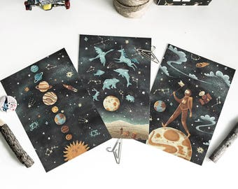 Space postcards and kraft envelopes • Solar system • Astronaut • Constellations • Illustrated  Cards • Greeting Cards • Vintage illustration