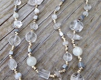 Quartz Crystal Medley Necklace - #Crystal beads  #Moonstone beads #African beads