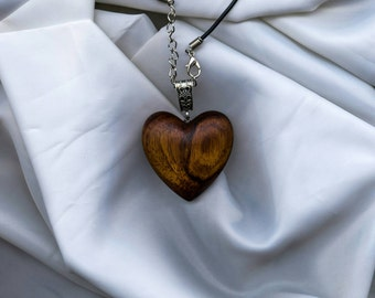 Wooden heart necklace, wooden necklace,wooden jewellery, gift for her, valentines, wood pendant, made from Acacia wood.