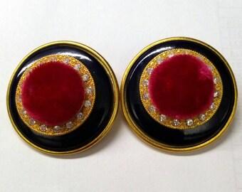 VINTAGE Purple Pink Velvet Earrings.  Rhinrstone Earrings, Retro Earrings, Fashion Jewelry, Accessories, Boutique