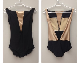 Custom Ballet Leotard in Black and Nude Satin Fabric with High Neck and Open Back Style