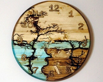 """15"""" Wall Clock Large Clock Unique Clock Rustic Sceanery Landscape  Lichtenberg wood hanging clock holiday gift anniversary wedding gift"""