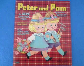 Vintage 1961 Un-Cut Twins Peter and Pam Paper Dolls by Whitman Publishing