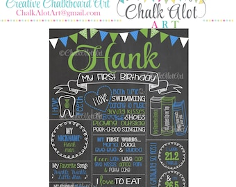 Birthday Chalkboard, Birthday Poster, Milestone Chalkboard, First Birthday, 1st Birthday, Girl or Boy, You Pick the Colors, Greenery