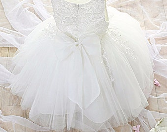 Gwen Baby Girl Ivory/Pink Formal Dress Flower Girl Christening Wedding Party Pageant Gown Bridesmaid