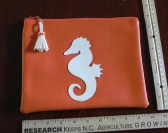 Orange with white seahorse bag