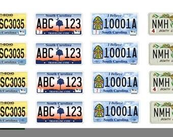 scale model car South Carolina license tag plates