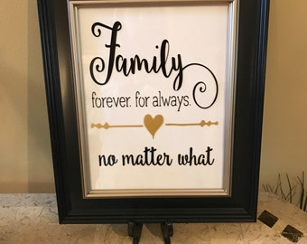 Family forever for always no matter what framed wall decor
