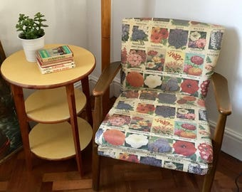 Vintage Parker Knoll Chair in Seed Packet fabric - Unique Chair - Occasional Chair