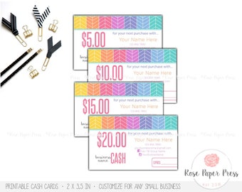 Cash Cards, Herringbone | Custom Printable Cards | 2 Size Options | Bucks, Certificates, Gift Card