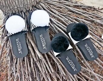 Customized Fur Flip Flops, Pom Pom ball Sandals, Rabbit fur Slipper, Original design Flip Flops
