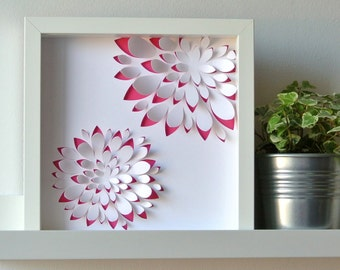 GRAPTOSEDUM duo - paper cut inspired floral, perfect for a deco graphic, modern, embossed, personalized gift table