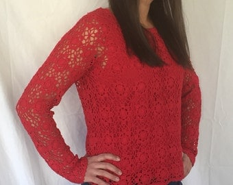 Red 1990 open weave crochet top sheer sweater long sleeve large