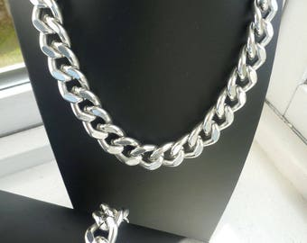 Silver Chunky Chain Necklace, Chunky Chain Jewelry, Silver Chain Links, Chunky Jewelry