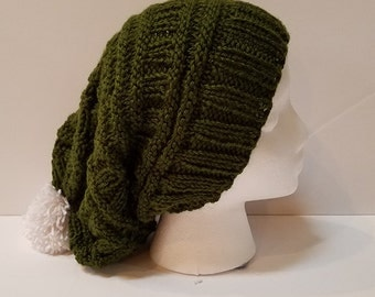 Dark Green Slouchy Hat with Pompom