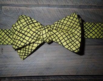 Yellow & Black Stripes and Checks Bow Tie, Adjustable, Self Tie