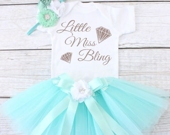 Little Miss Bling. Baby Tutu Outfit. Girl's Outfit. Girl's Tutu Outfit. Girls Tutu Set. Girl's Clothing. T12 GRL (AQUA)