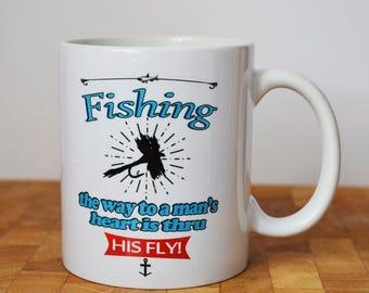 Fly Fishing Mug, Funny Fishing Mug, Funny Quote, Humour Gift, Ceramic