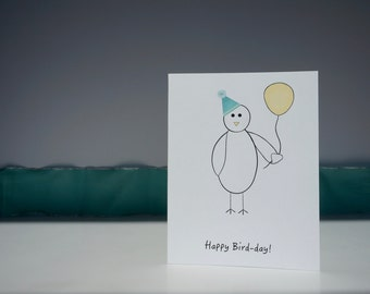 Birthday Card // Bird Card // Party Hat Card // Balloon Card // Funny Card // Pun Card //