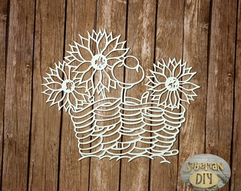 "Laser Cut Chipboard ""The fence with sunflowers"""