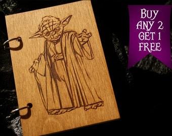 Master Joda wooden notebook / Star Wars notebook / sketchbook / diary / Star Wars journal / travelbook / Star Wars gift