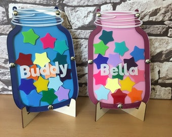 Children's Personalised Reward Jar - Chart - System with 15 Acrylic Coloured Stars