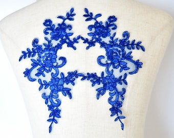 2pc. mirrored, Royal Blue corded lace flower applique - blue Lace flower, lace patch, Something blue bridal dress appliqué