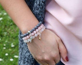 Spring set of three marble bracelets